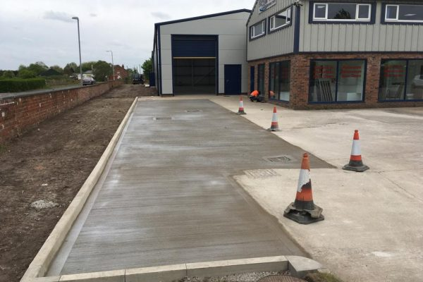 Concrete yard with new Drains